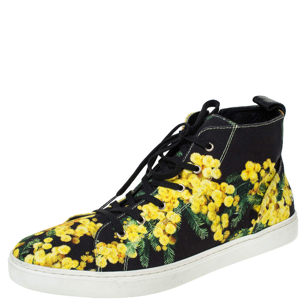 Dolce & Gabbana Black/Yellow Floral Print Canvas High Top Sneakers Size 41