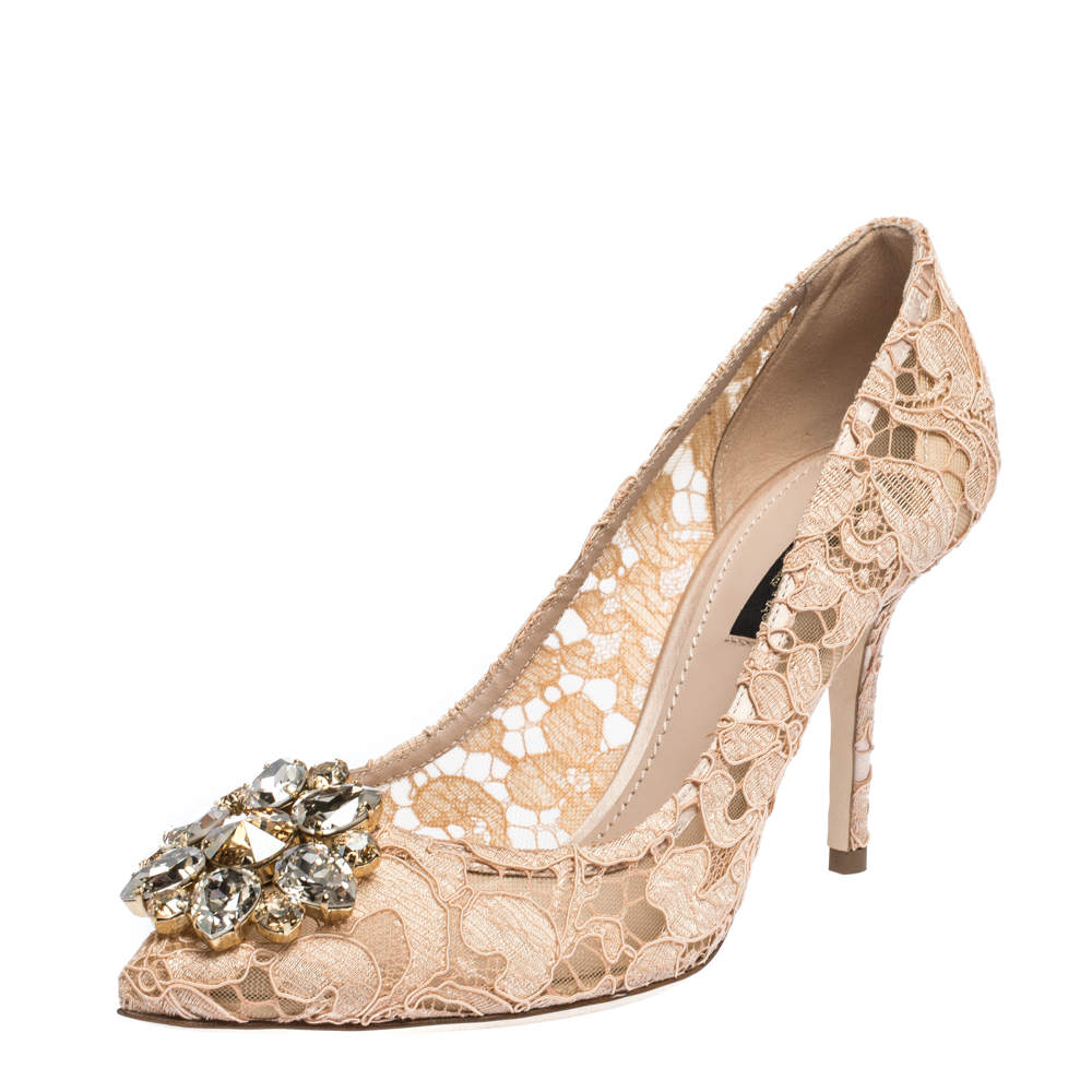 Dolce & Gabbana Pink Lace Jeweled Embellishment Pointed Toe Pumps Size 36.5