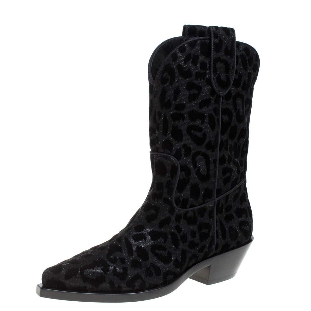 Dolce & Gabbana Black Animal Print Lurex and Velvet Cowboy Boots Size 37.5