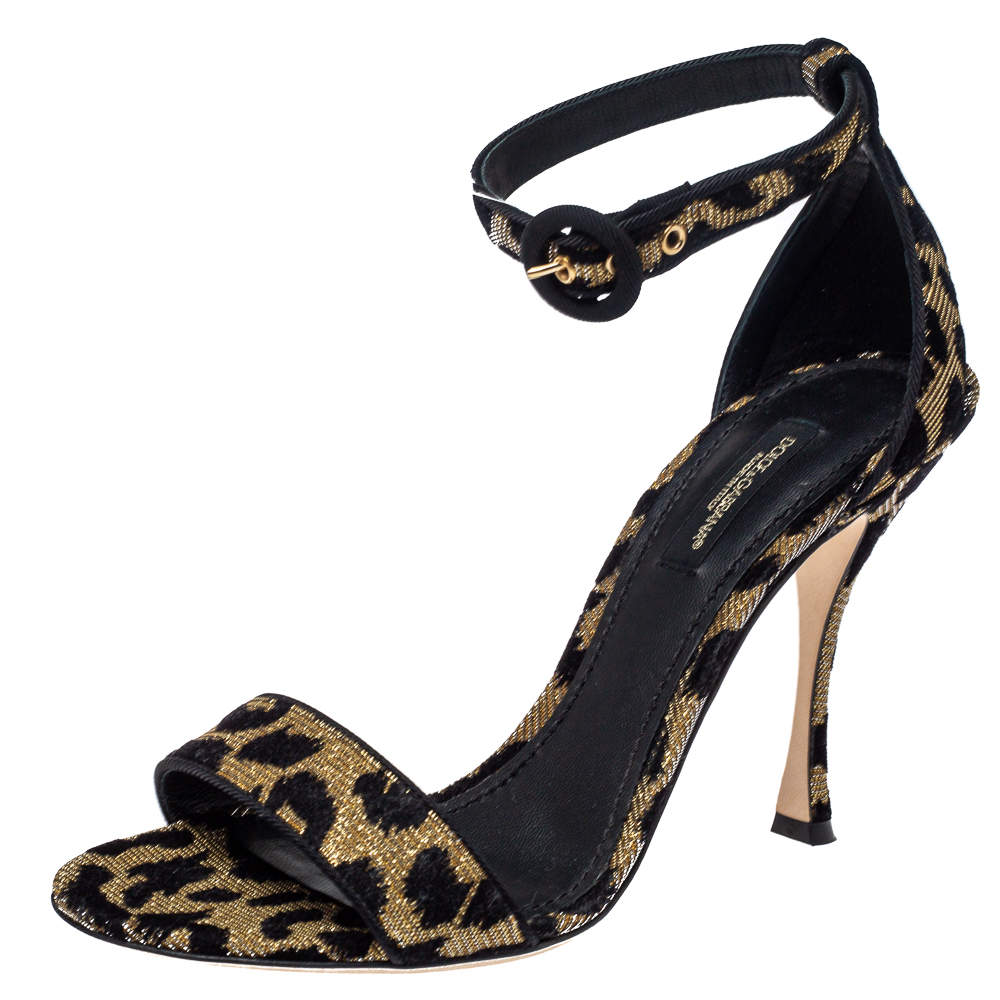 Dolce & Gabbana Gold/Black Animal Print Lurex and Velvet Ankle Strap Sandals Size 40.5