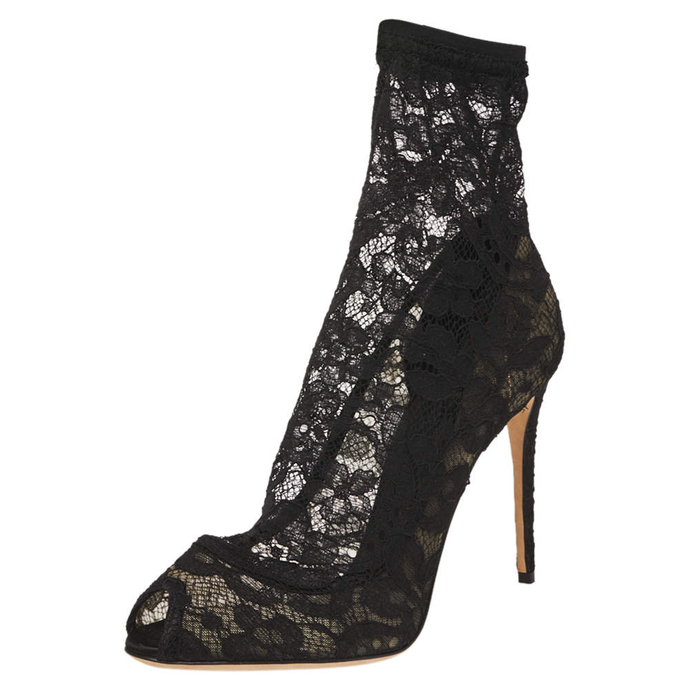 Dolce & Gabbana Black Lace and Mesh Stretch Booties Size 39.5
