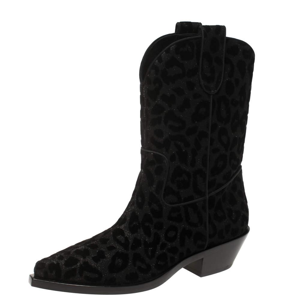Dolce & Gabbana Black Animal Print Lurex and Velvet Cowboy Boots Size 38.5
