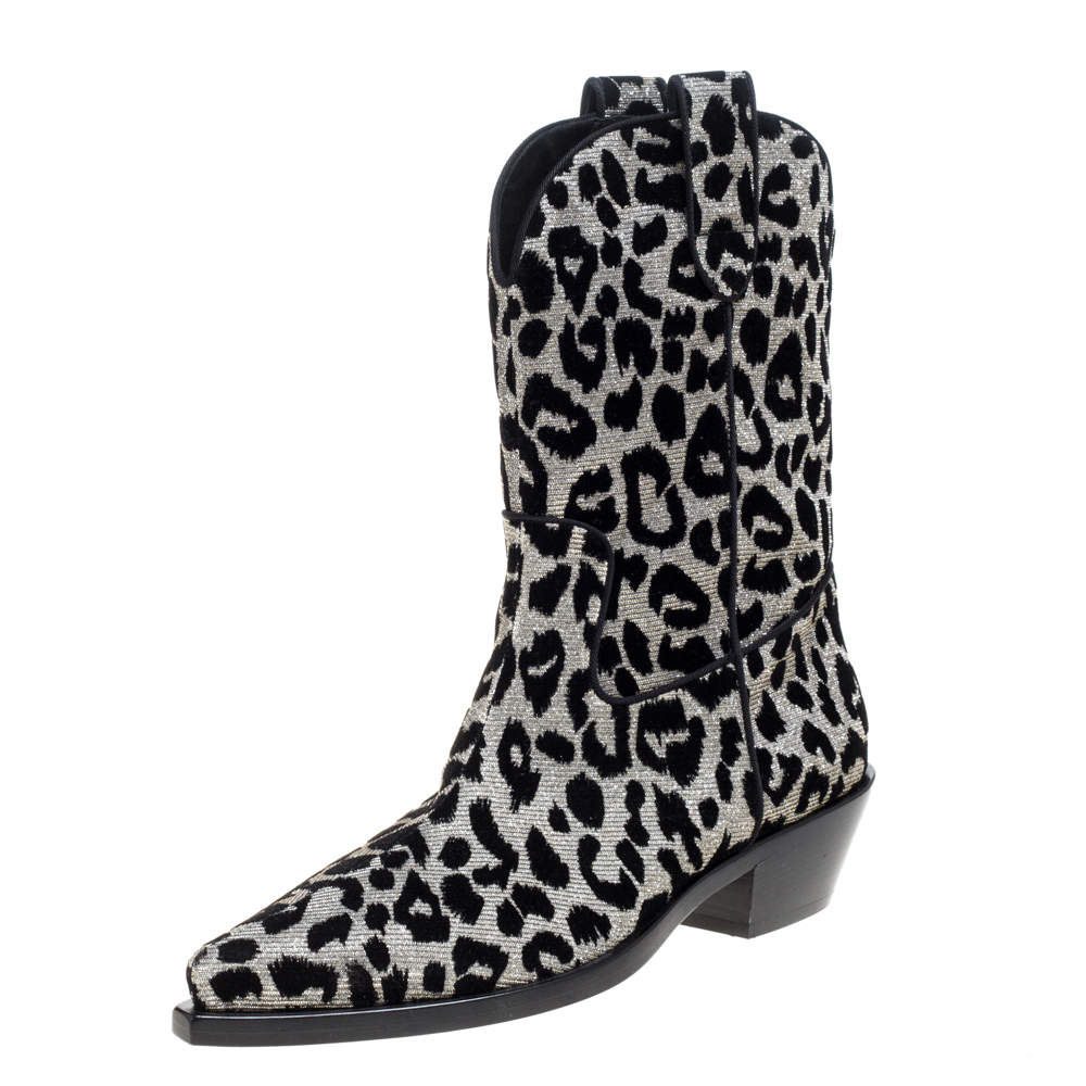 Dolce & Gabbana Black/Silver Animal Print Lurex and Velvet Cowboy Boots Size 39.5