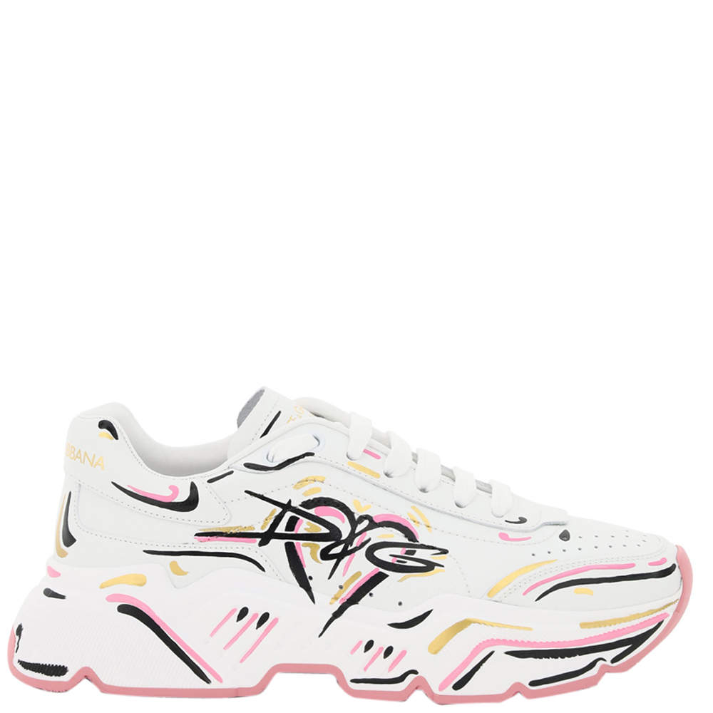 Dolce & Gabbana Calfskin Nappa Leather Hand-painted DG Daymaster Sneakers Size IT 39