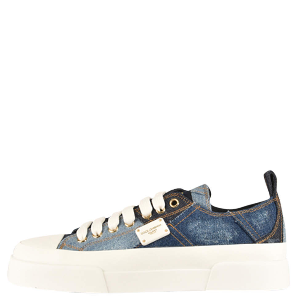 Dolce & Gabbana Blue Denim Portofino Sneakers Size 36