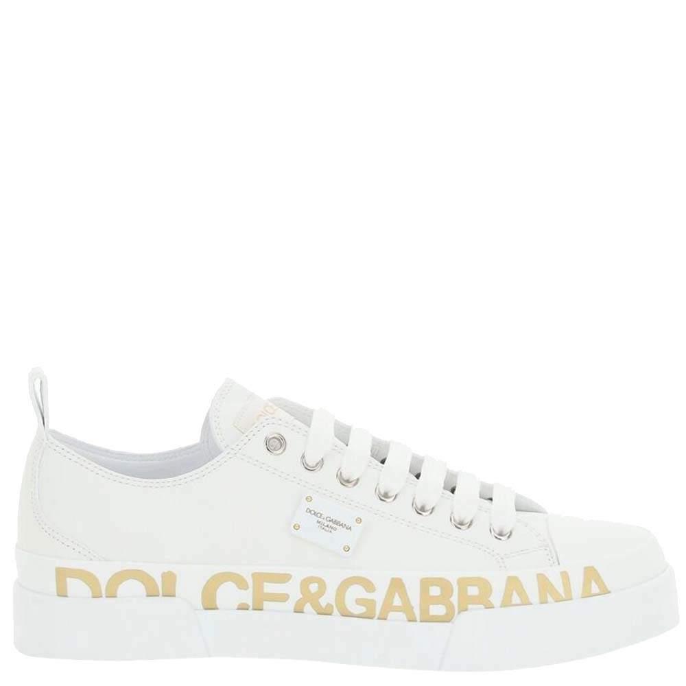Dolce & Gabbana White Calfskin Logo Portofino Sneakers Size IT 36