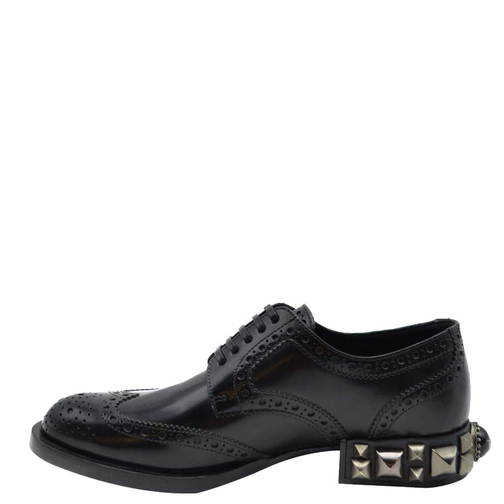 Dolce and Gabbana Black Leather Detail Derby Shoes Size EU 37