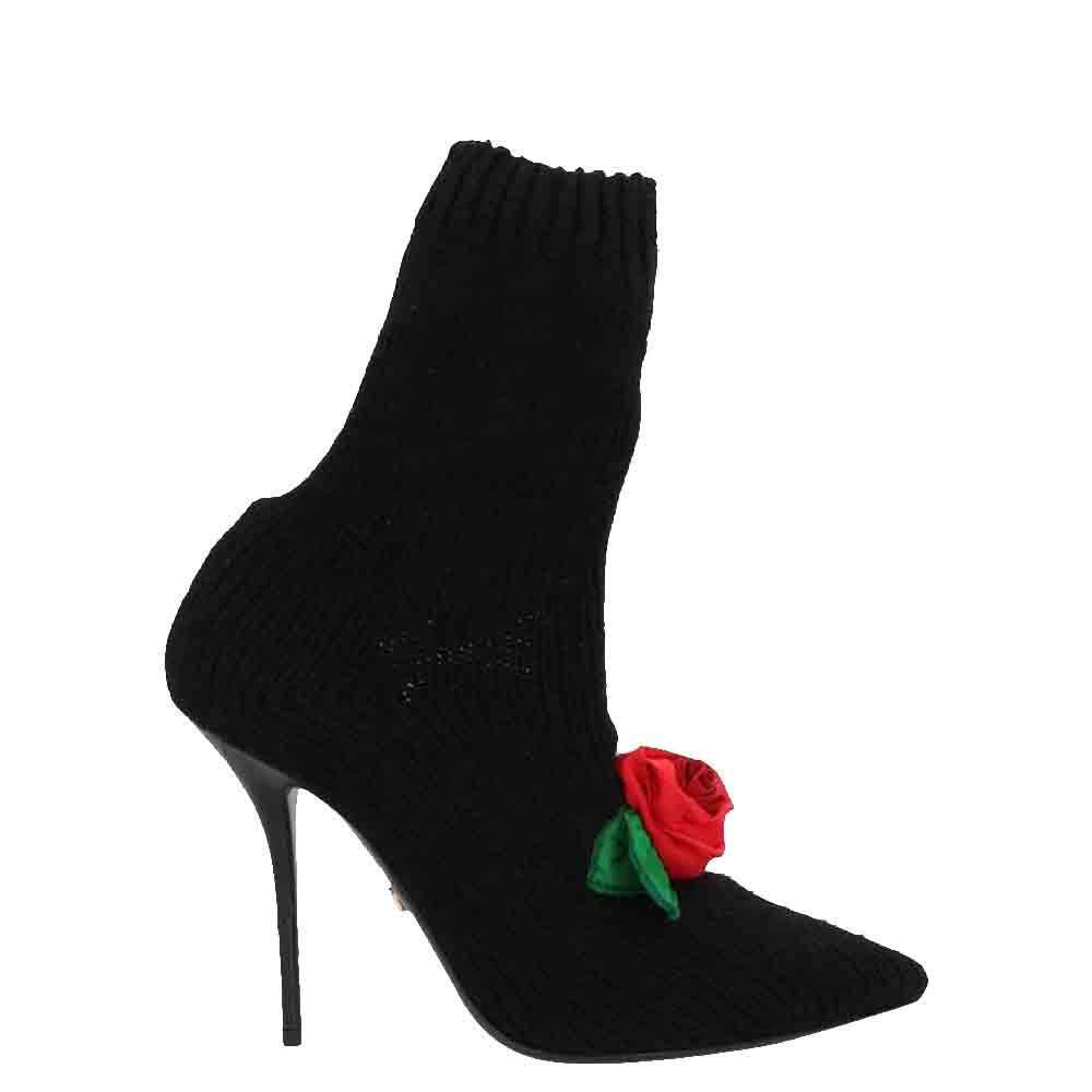 Dolce & Gabbana Black Rose-Appliqué Knit Sock Boots Size 38.5
