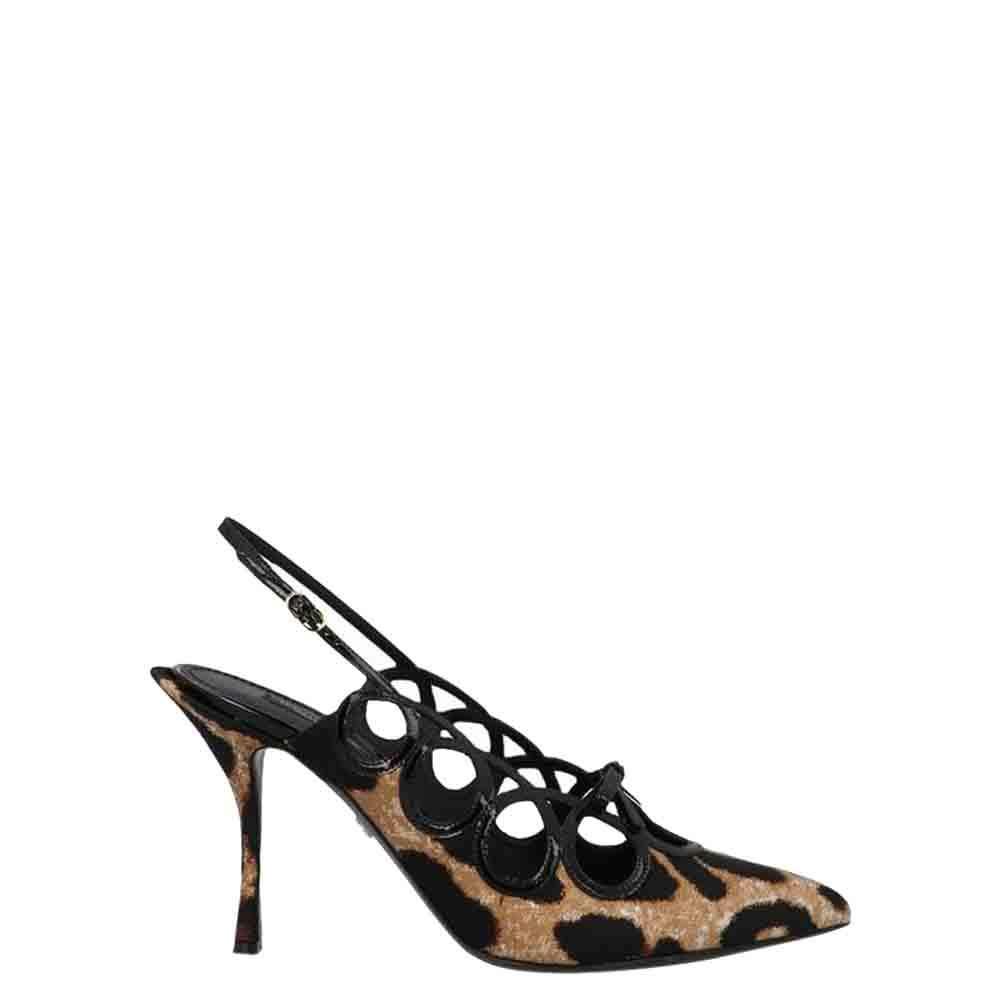 Dolce & Gabbana Brown Leopard-print Slingback Pumps Size EU 37