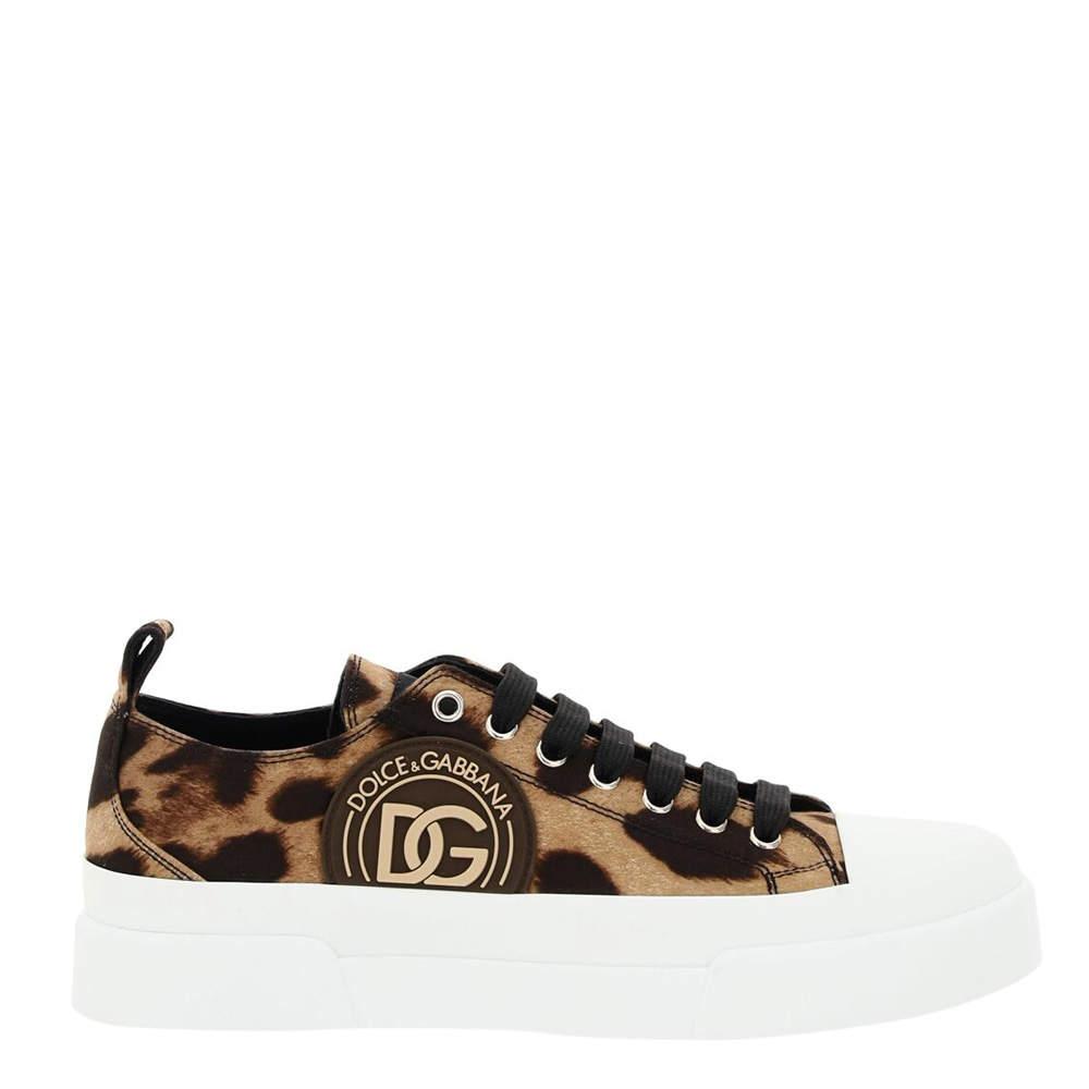 Dolce & Gabbana Cotton drill Leopard Print Portofino Sneakers Size IT 37