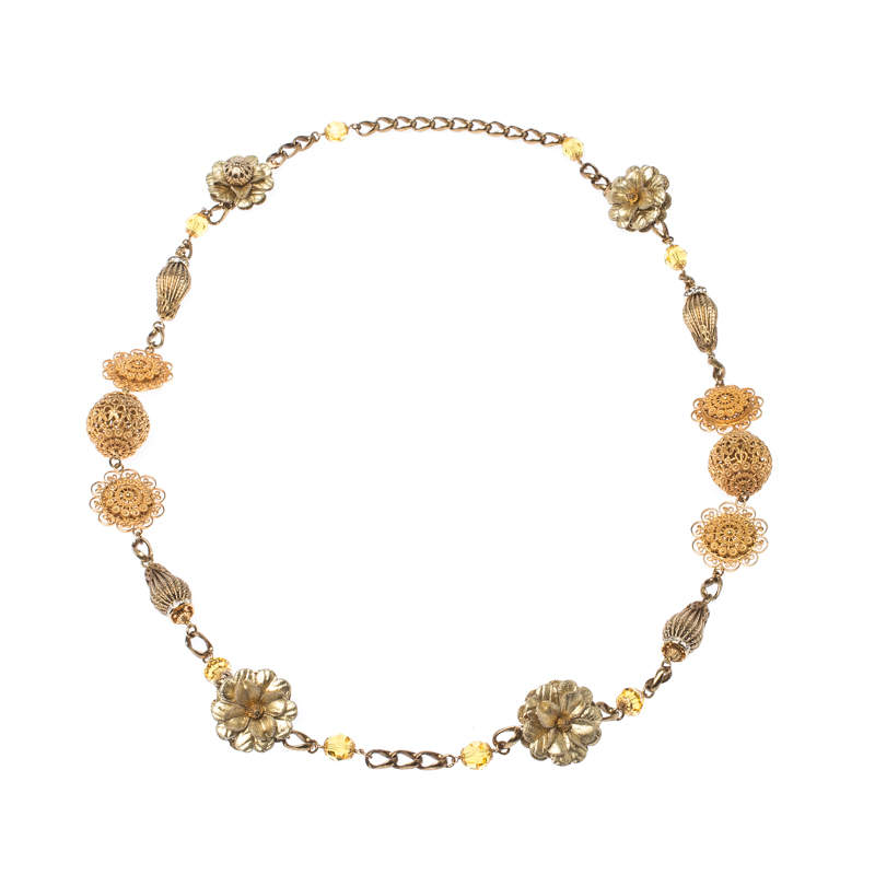 Dolce & Gabbana Crystal Flower Filigree Gold Tone Long Station Necklace