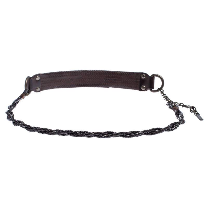 Dolce & Gabbana Dark Brown Braided Leather Chain Belt 80CM