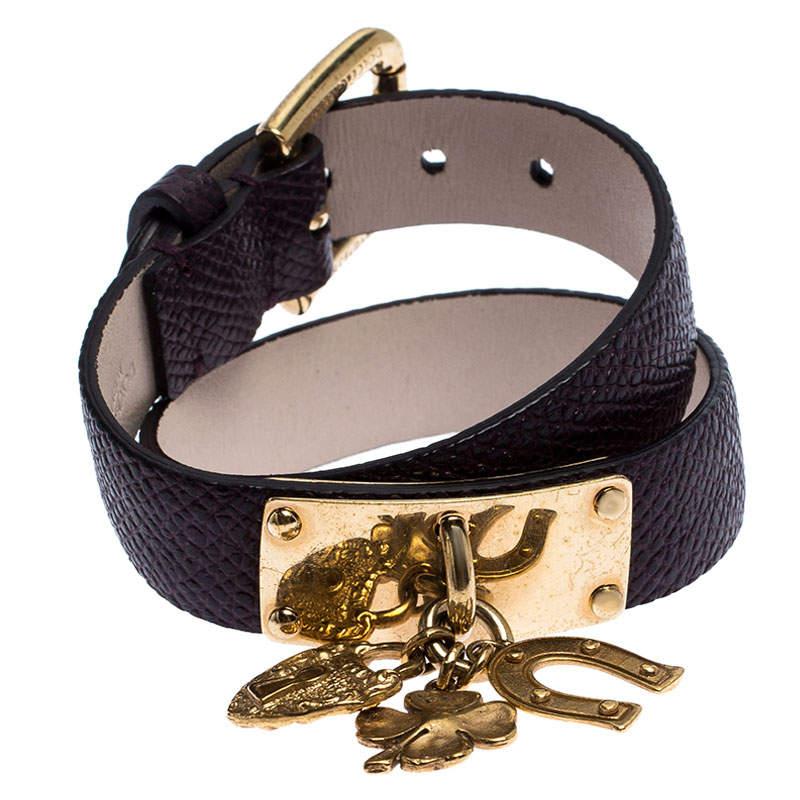 Dolce & Gabbana Brown Leather Gold Tone Wrap Charm Bracelet