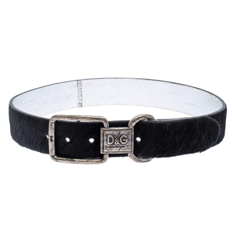 D&G Black Calfhair Logo Buckle Belt 75CM