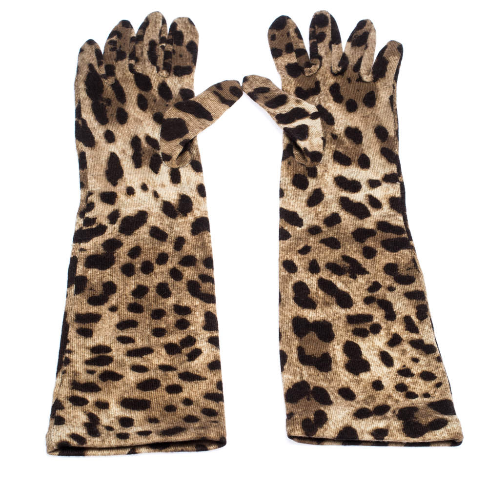 Dolce & Gabbana Brown Leopard Print Wool Long Gloves S