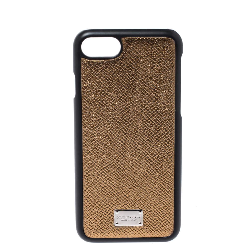 Dolce & Gabbana Metallic Gold/Black Leather Iphone 7 Case