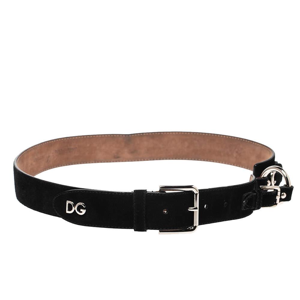 Dolce & Gabbana Black Suede Leather Belt 85CM