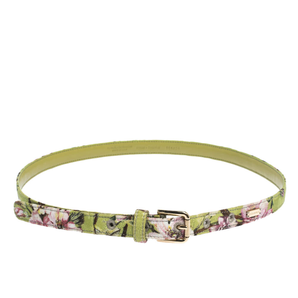 Dolce & Gabbana Green Floral Print Fabric Buckle Belt 75CM