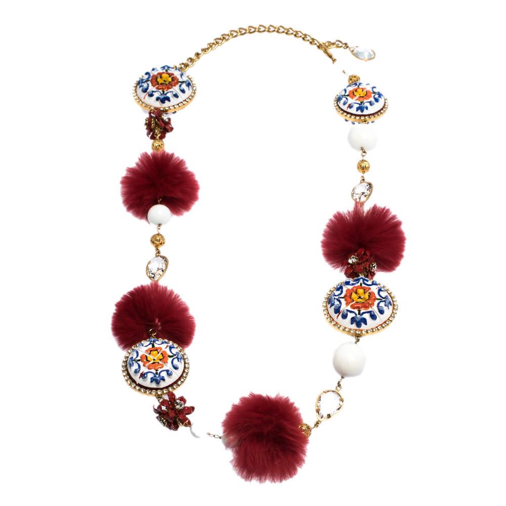 Dolce & Gabbana Beaded Fur Hand Painted Fur Crystal Filigree Gold Tone Belt