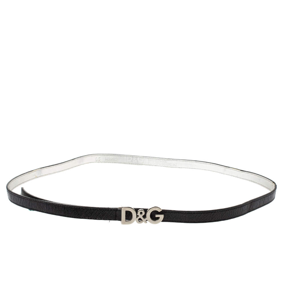 Dolce & Gabbana Black Patent Leather Belt 95CM