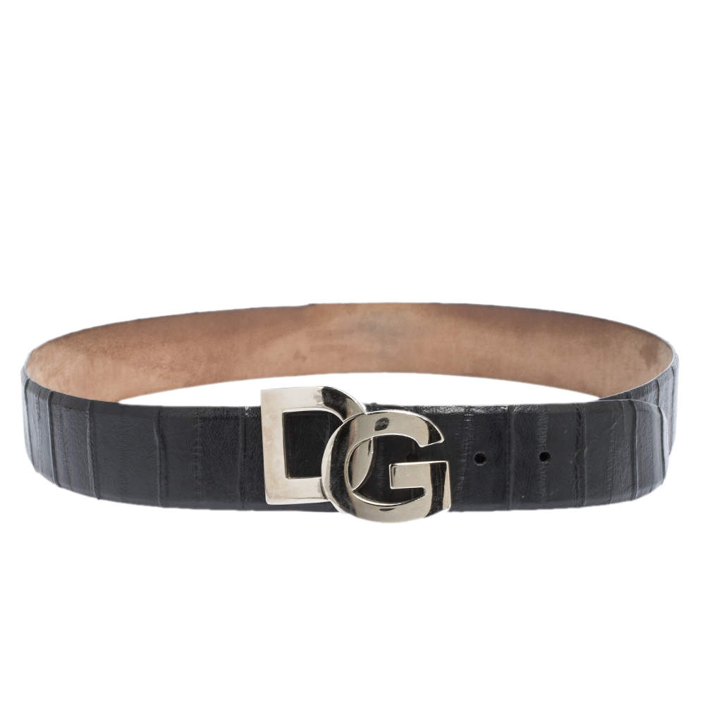 Dolce & Gabbana Black Leather Logo Buckle Belt 95CM