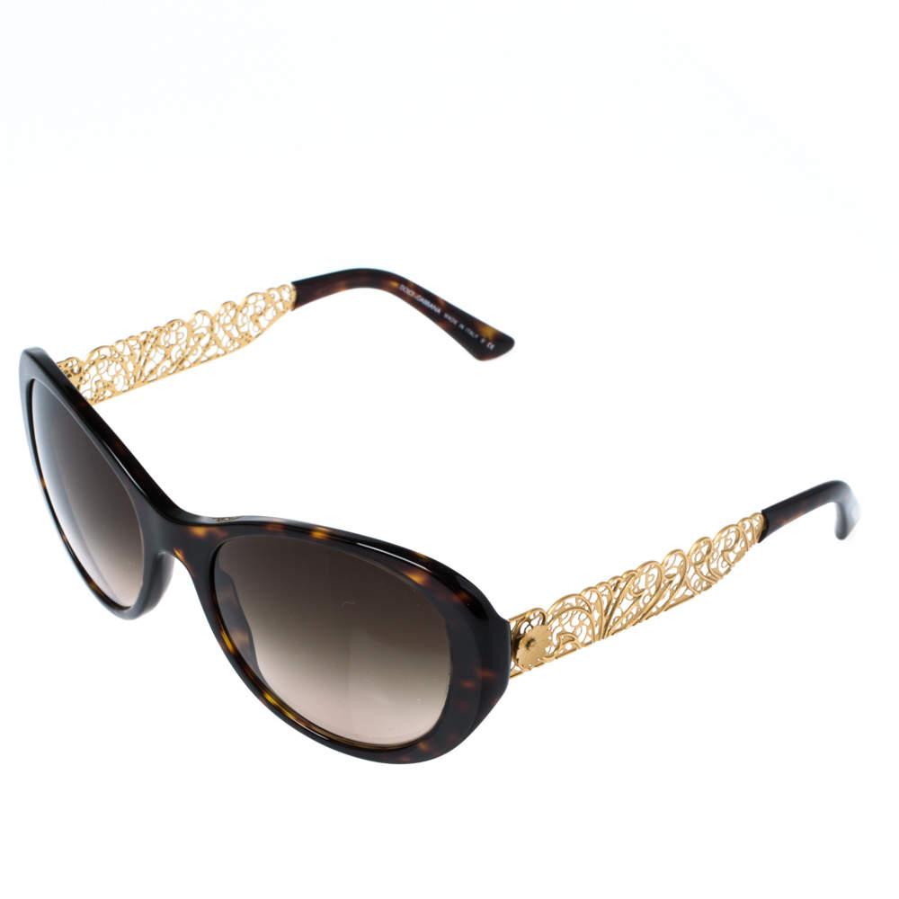 Dolce & Gabbana Havana/Brown Gradient DG 4213 Filigree Cat Eye Sunglasses