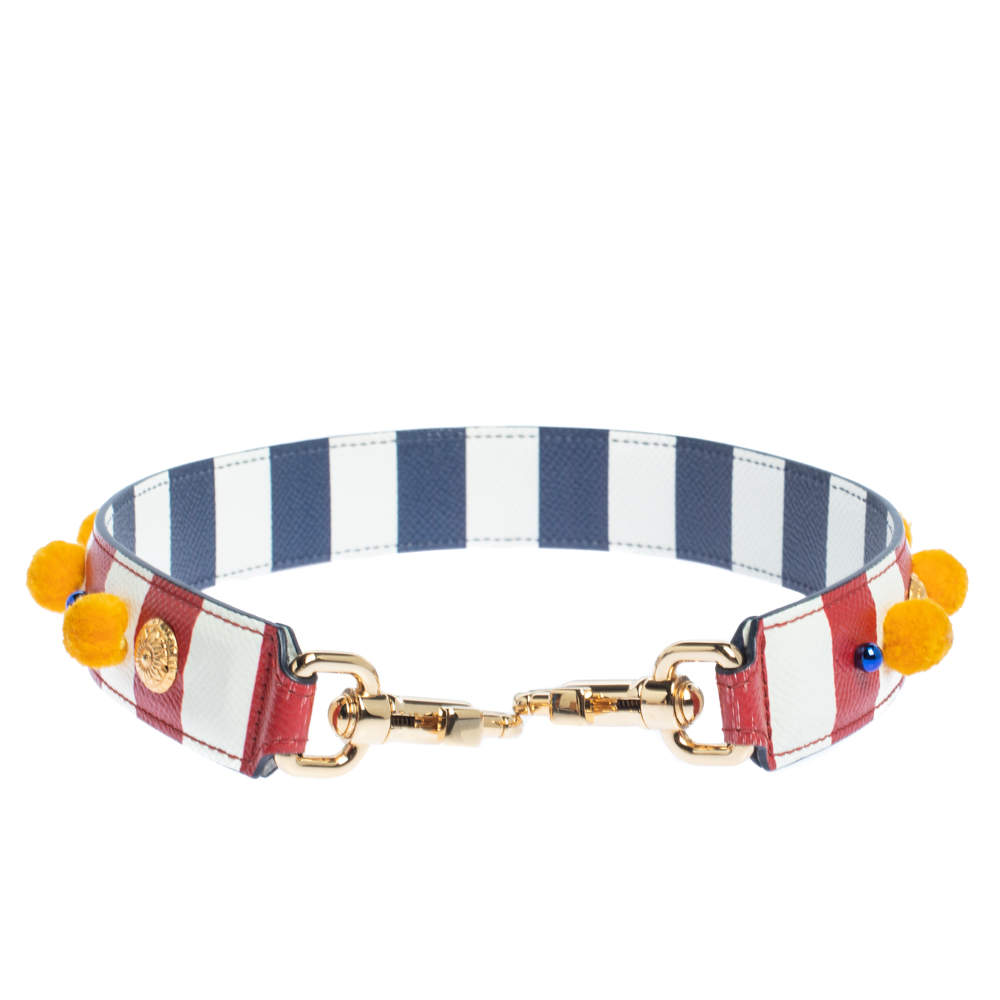 Dolce and Gabbana Multicolor Stripe Leather Embellished Bag Strap