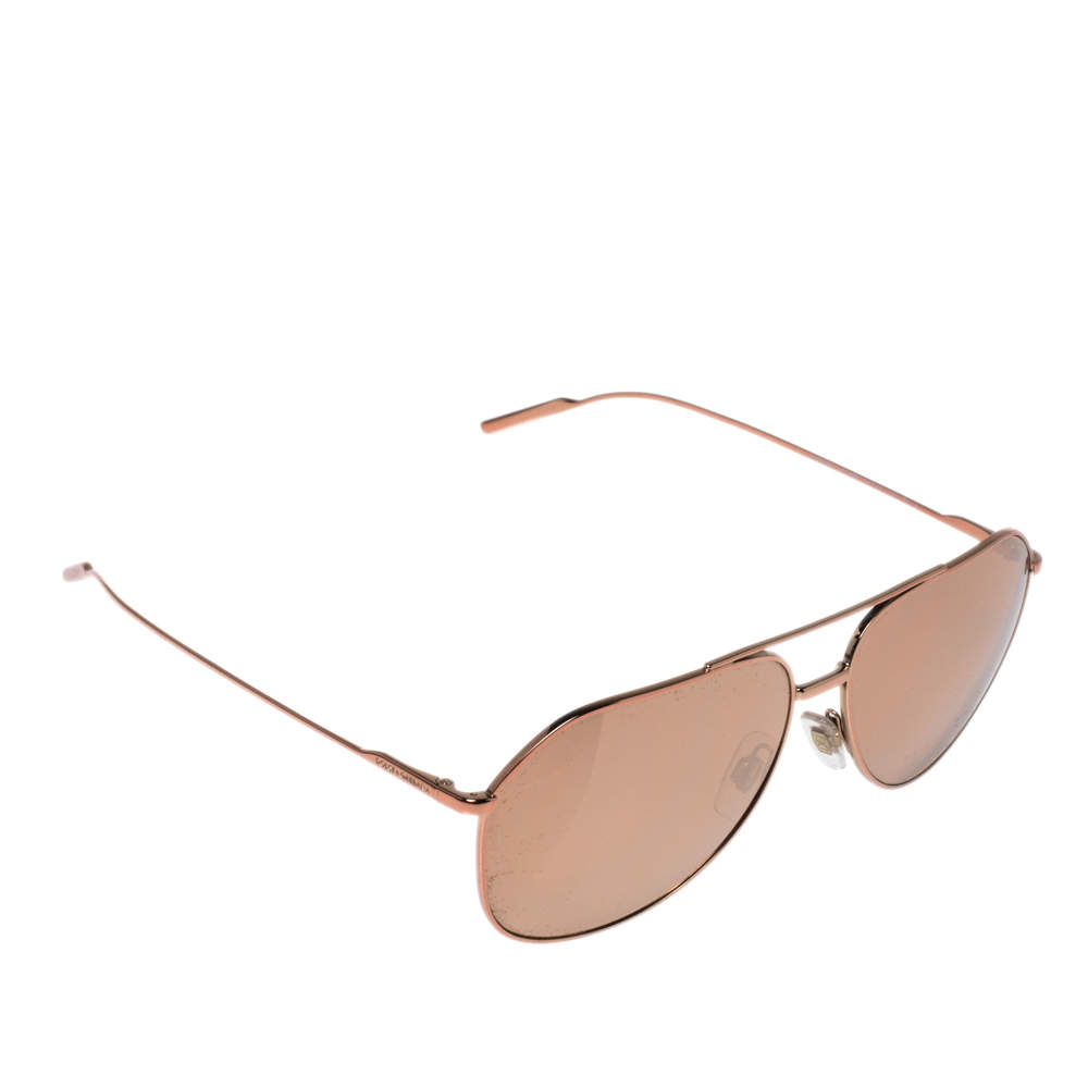Dolce & Gabbana Rose Gold Plated/ Gold Mirrored DG 2166 Gold Edition Aviator Sunglasses