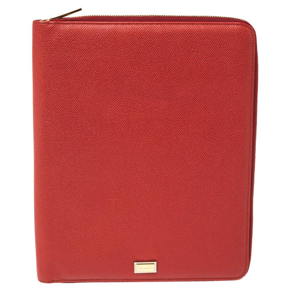 Dolce & Gabbana Red Leather Agenda Organizer