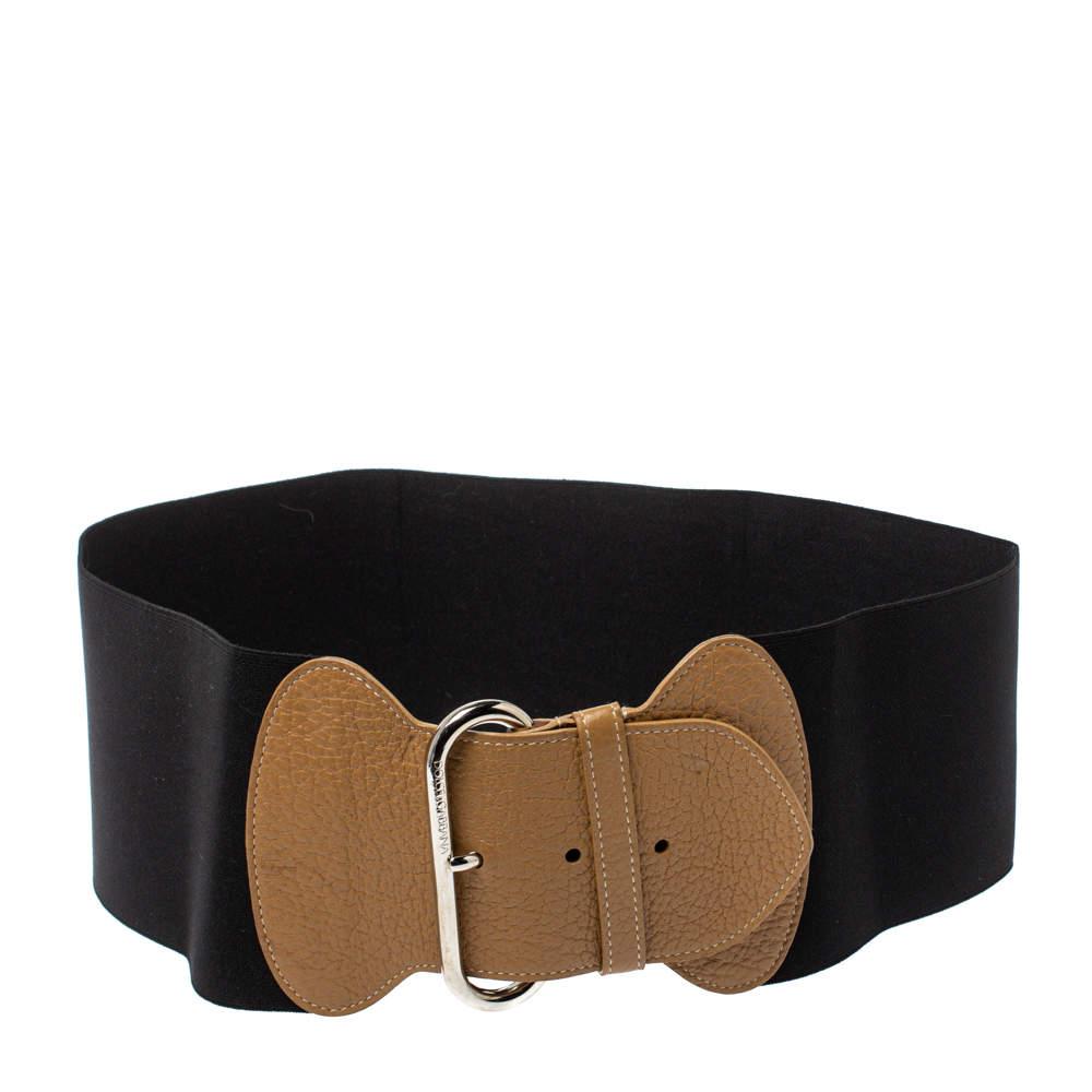 Dolce & Gabbana Black/Beige Elastic Band And Leather Waist Belt 90 CM