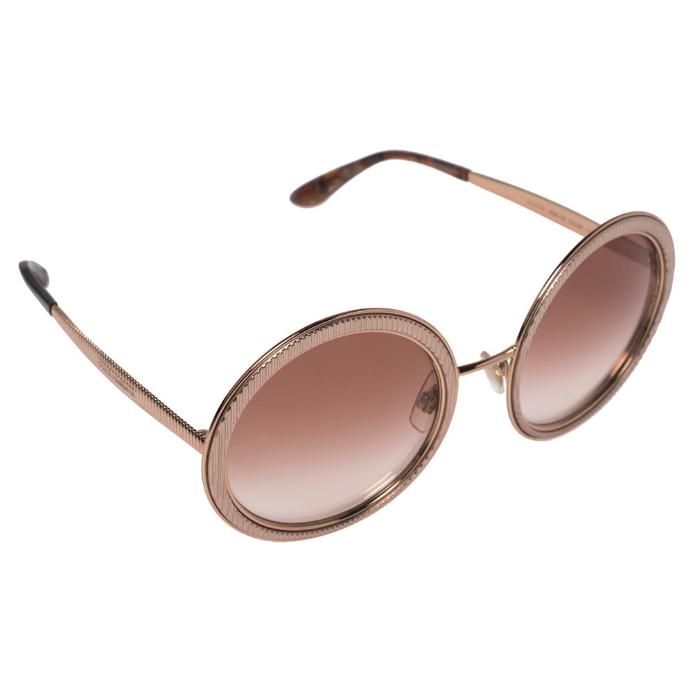 Dolce & Gabbana Rose Gold/Pink Gradient DG 2179 Round Sunglasses