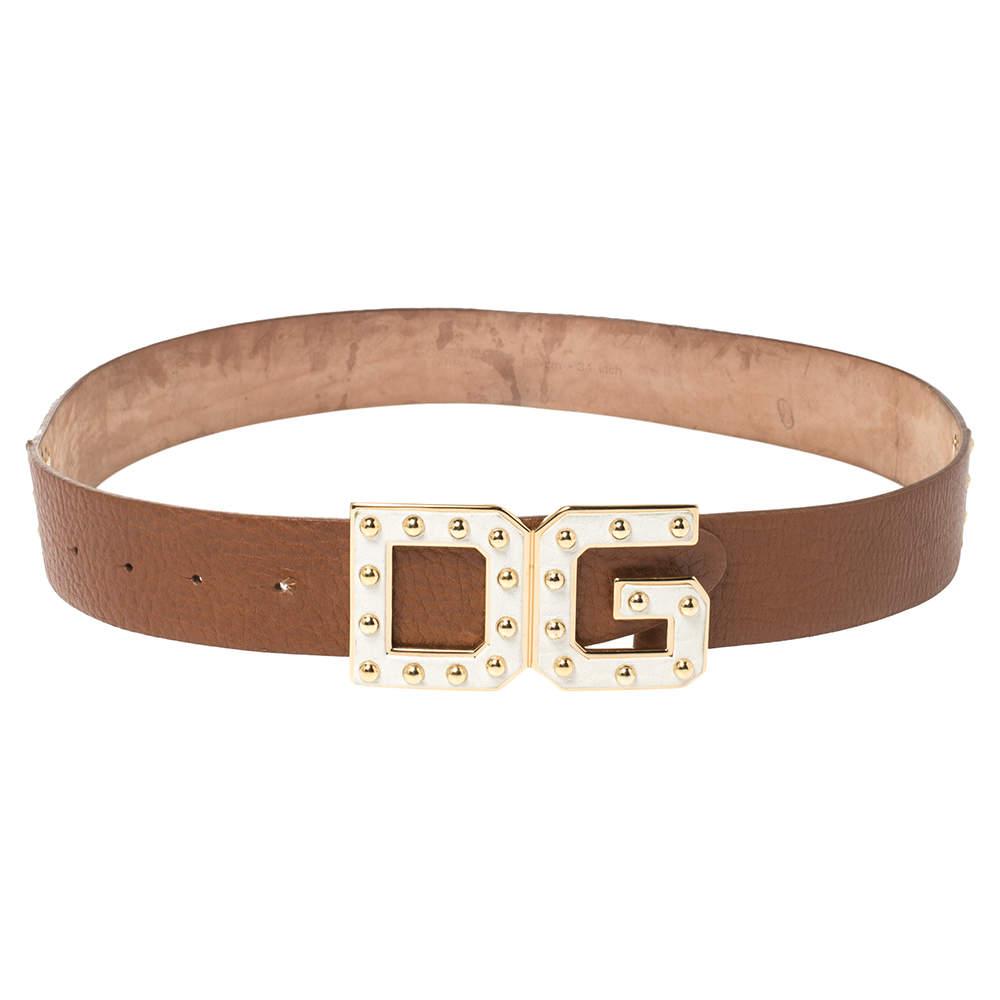 Dolce & Gabbana White/Tan Leather Logo Studded Leather Waist Belt 85CM