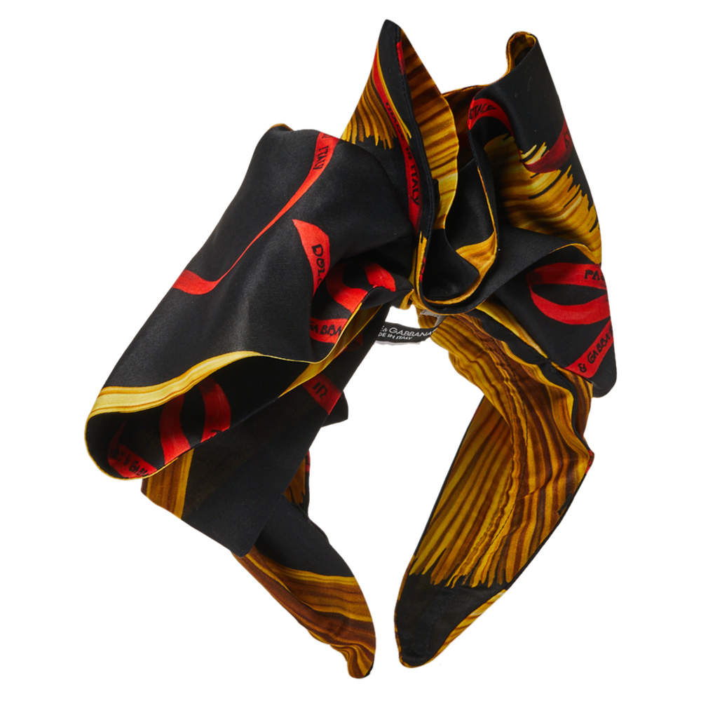 Dolce & Gabbana Black Silk Pasta Print Bow Headband