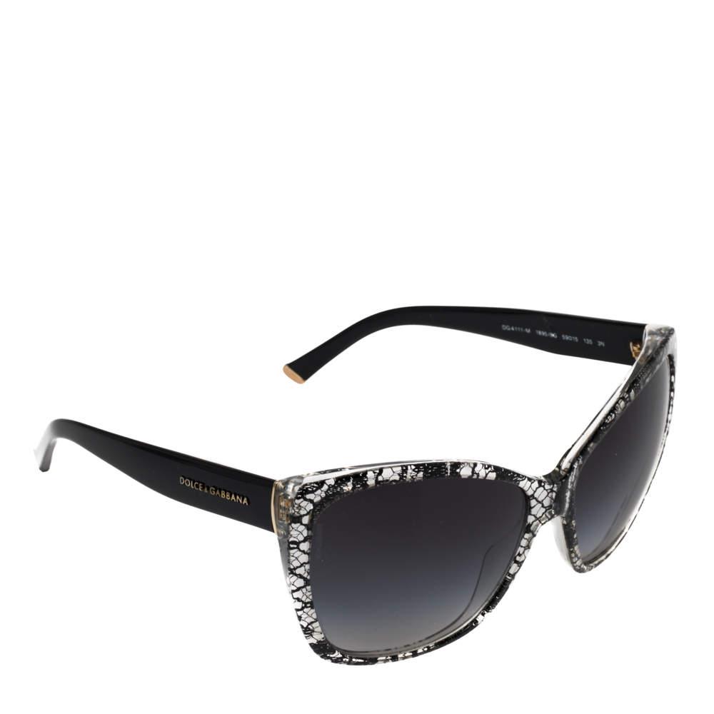 Dolce & Gabbana Black Lace / Grey Gradient DG 4111 Cateye Sunglasses