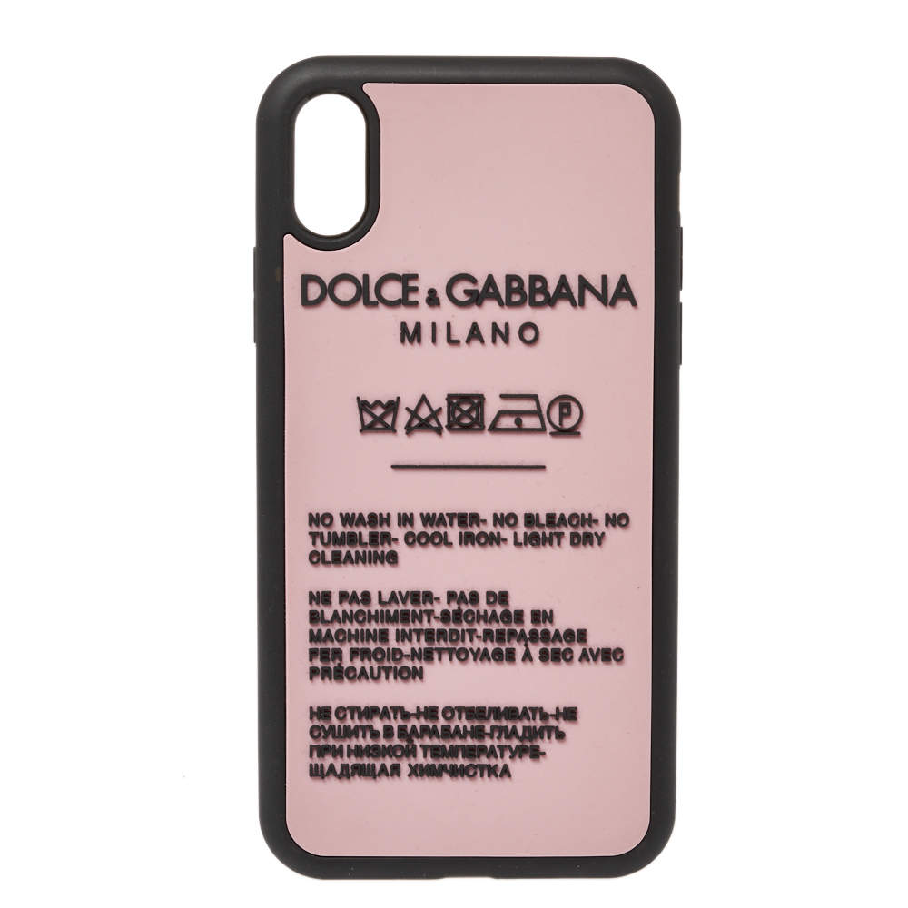 Dolce & Gabbana Pink Laundry Label Print iPhone XR Case