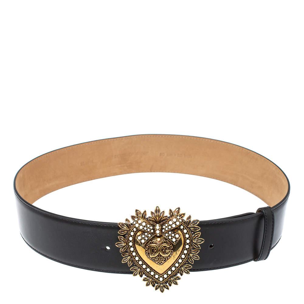 Dolce & Gabbana Black Leather Devotion Heart Buckle Belt 80cm