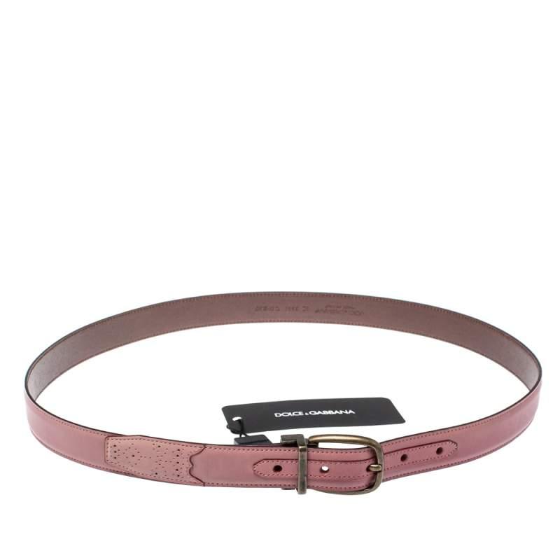 حزام دولتشي أند غابانا ذو وجهين جلد بني داكن و وردي 95 سم
