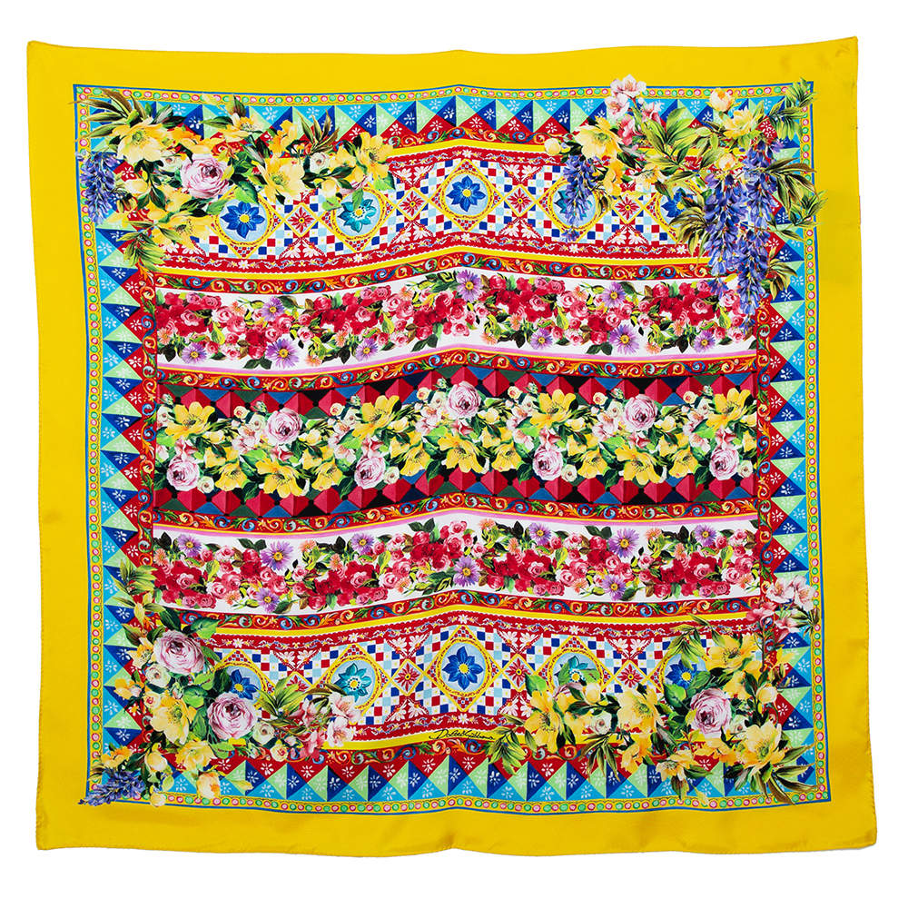 Dolce & Gabbana Yellow Mambo Print Silk Square Scarf