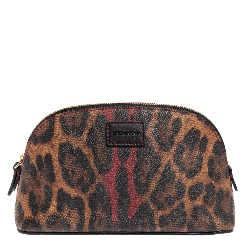 Dolce & Gabbana Brown Leopard Coated Canvas Cosmetic Case