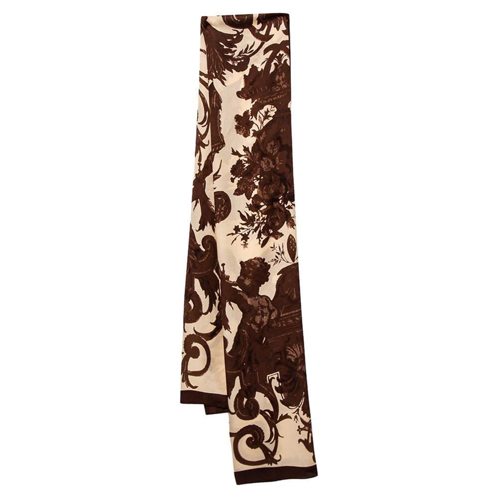 Dolce & Gabbana Brown & Beige Printed Silk Scarf