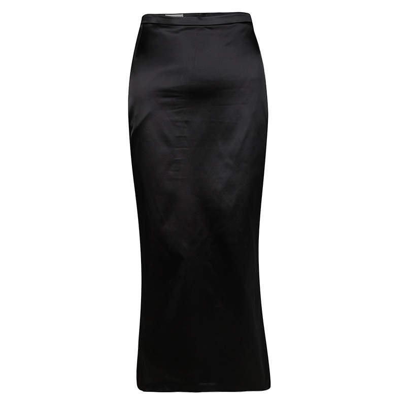 Dolce & Gabbana Black Satin Midi Skirt L