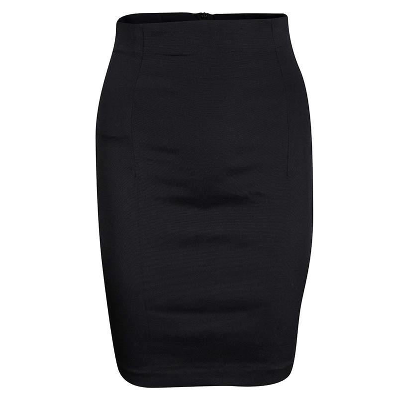 Dolce & Gabbana Black High Waist Pleat Detail Pencil Skirt M