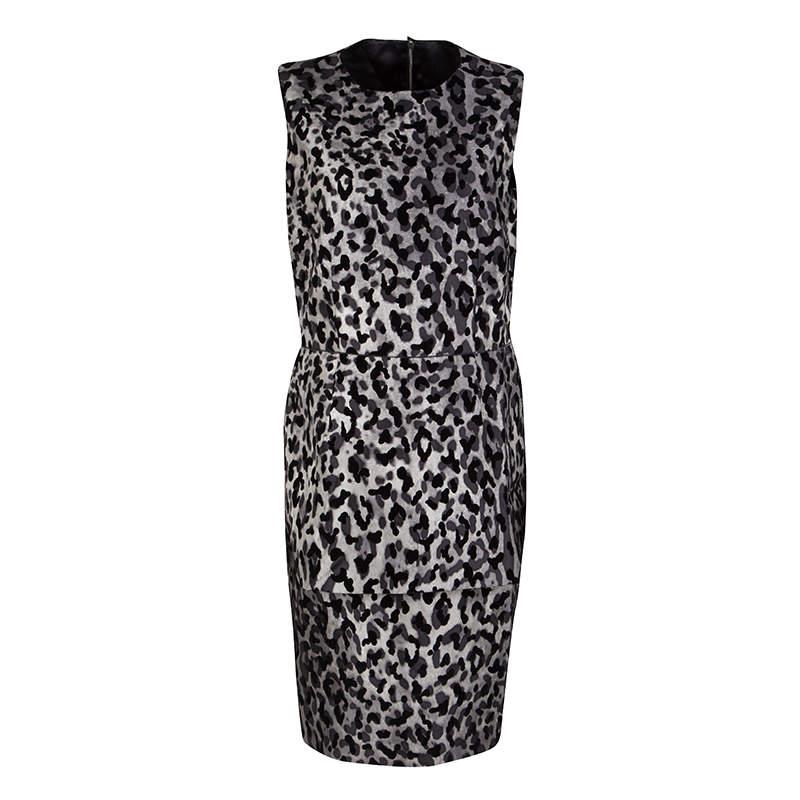 Dolce & Gabbana Monchrome Flock Animal Print Layered Sleeveless Dress L