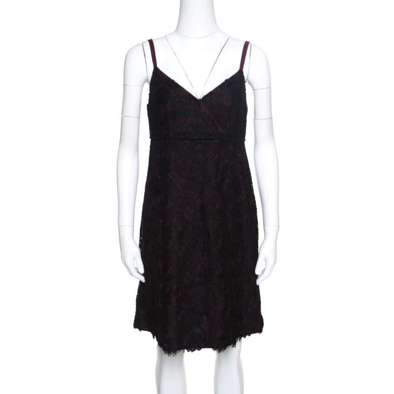 Dolce & Gabbana Black Floral Lace Sleeveless Dress M