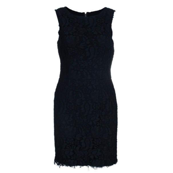 Dolce & Gabbana Black Lace Shift Dress M