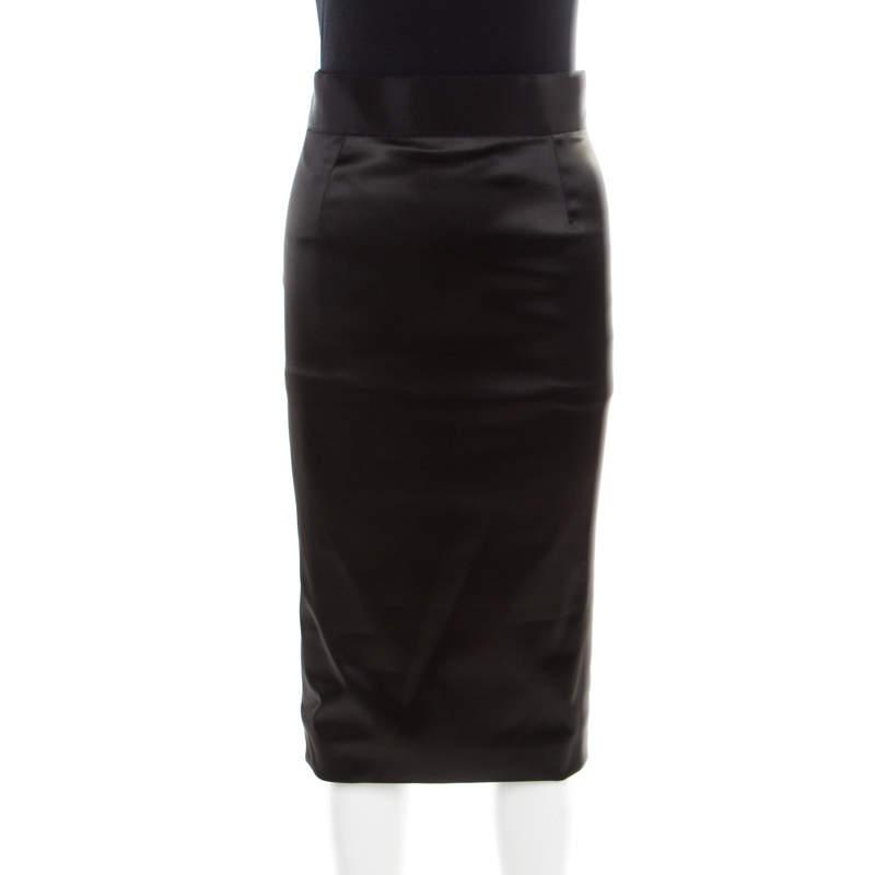 Dolce & Gabbana Black Satin Pencil Midi Skirt S
