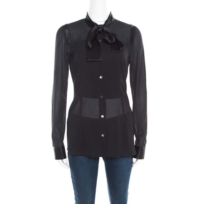 Dolce & Gabbana Black Satin Trim Neck Tie Detail Long Sleeve Blouse S