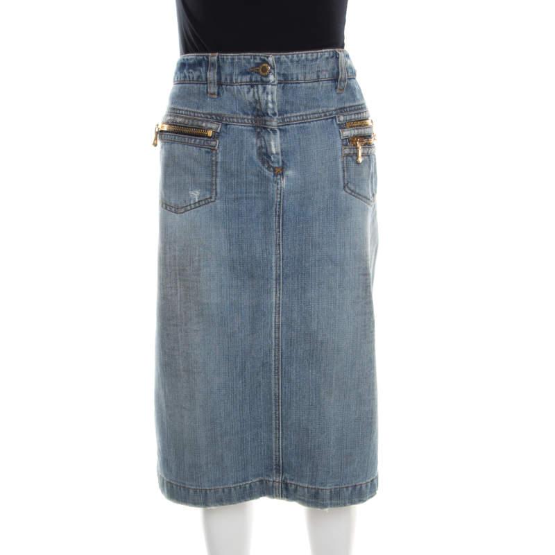 Dolce & Gabbana Indigo Faded Effect Distressed Denim Skirt M