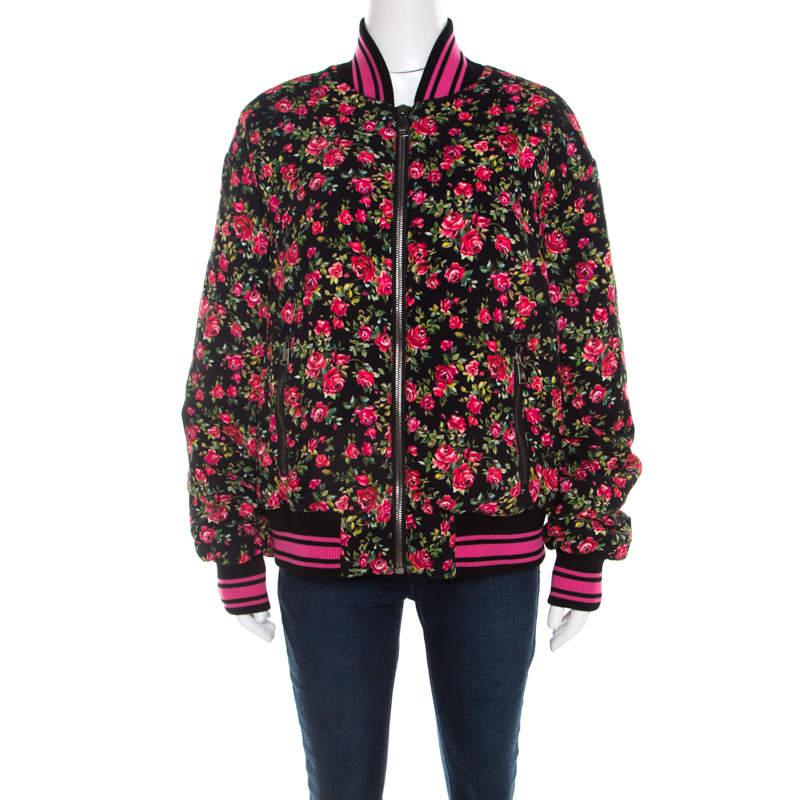 Dolce & Gabbana Pink Crepe Floral Print Oversized Bomber Jacket S