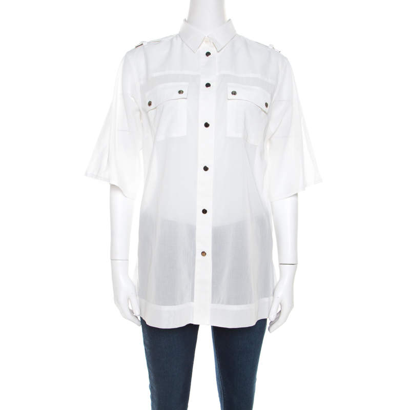 Dolce & Gabbana White Cotton Voile Metal Button Front Shirt M